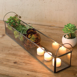 Metal & Glass Long Tray w/ Handles