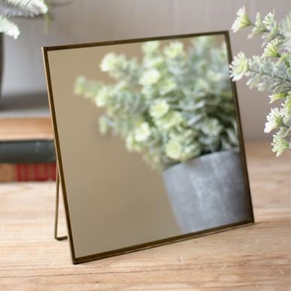 Brass Finish Mirror w/ Wire Stand