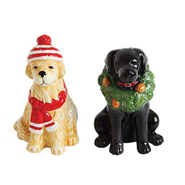 Ceramic Hand-Painted Holiday Dog Salt & Pepper Shakers Set