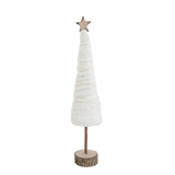 Cream Wool Christmas Tree On Wood Base