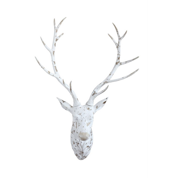 White Distressed Resin Deer Head