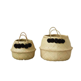 Round Wicker Collapsible Basket w/ Black Pom Poms