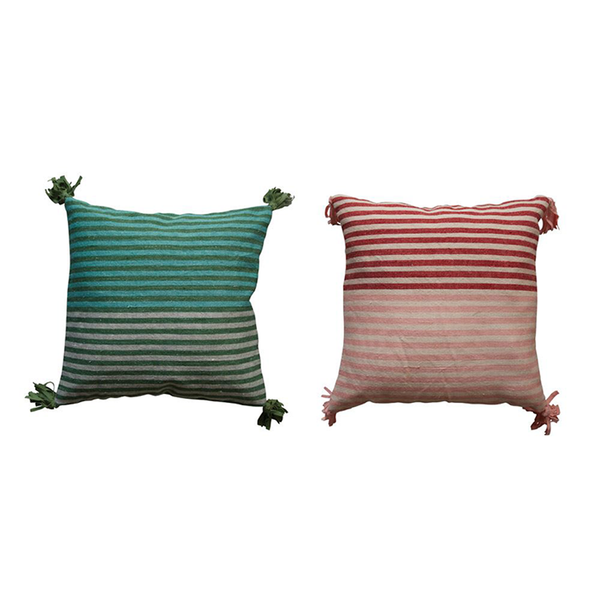 Striped Pillow Cover w/ Tassels