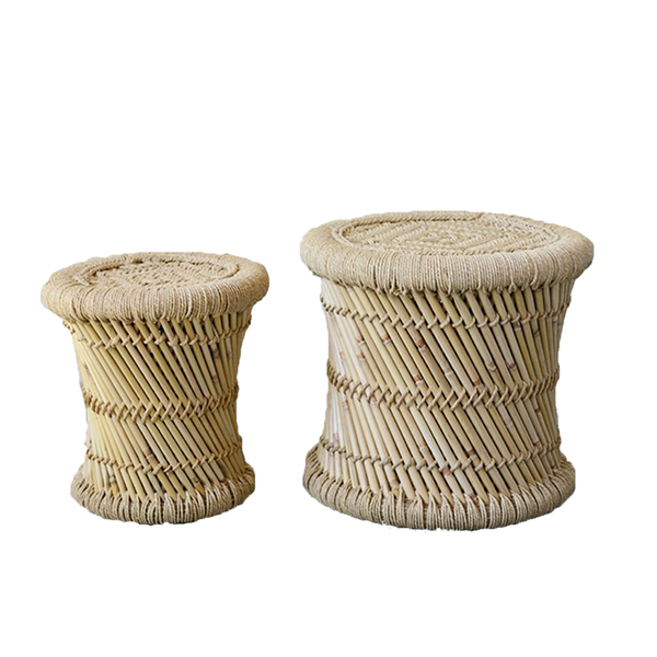 Hand-Woven Bamboo & Rope Side Tables Set