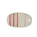 Striped Stoneware Serving Tray