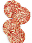 Handwoven Uganda Peach Fringed Heathered Raffia Coasters Set