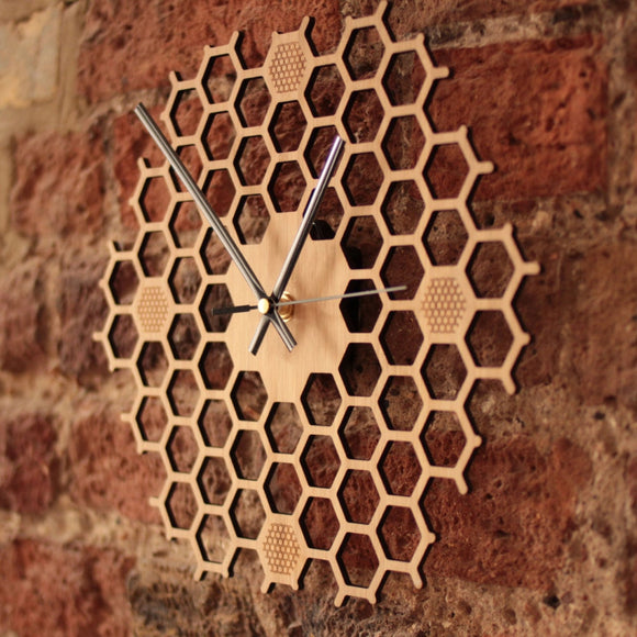Wooden Honeycomb Wall Clock - Level Up Decor