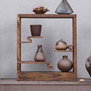 Retro Wooden Vase Rack - Level Up Decor