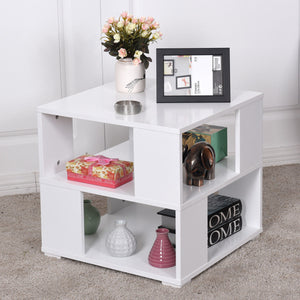 Modern Coffee Table with Storage Cube Shelves - Level Up Decor