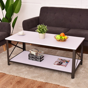 Wood Coffee Table Metal Frame with Storage Shelf - Level Up Decor