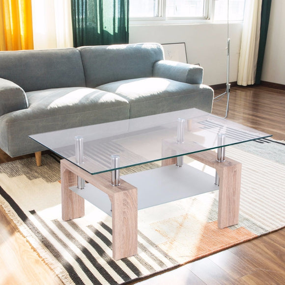 Rectangular Glass Coffee Table with Storage Shelf - Level Up Decor