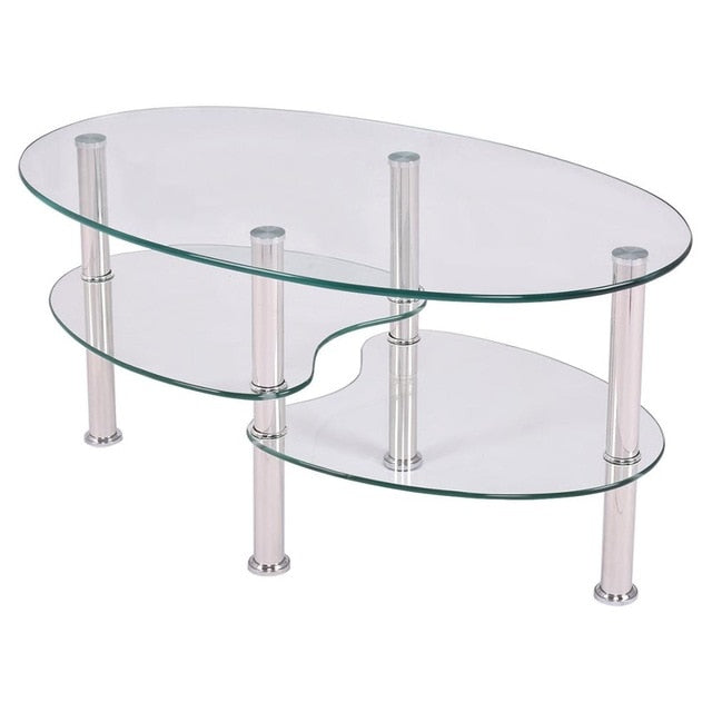 Tempered Glass Oval Side Coffee Table - Level Up Decor