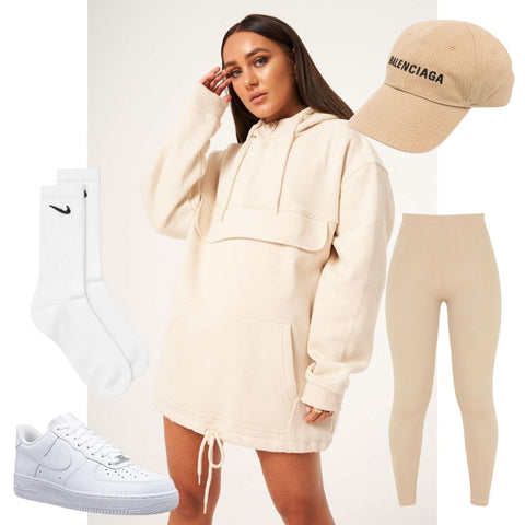 Oversized pullover hoodie in Nude