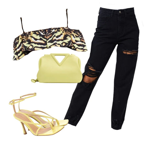The Amaia Ruffle Off the Shoulder Reversible Bikini Top in Black Leopard Print paired with black destressed boyfriend jeans, lemon strappy mule heels and a lemon clutch bag