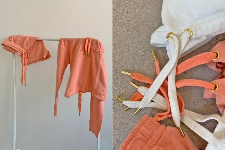 Two images, on the left is a rail with the peach tracksuit draped across. On the right is a close up of the peach and nude joggers drawstrings