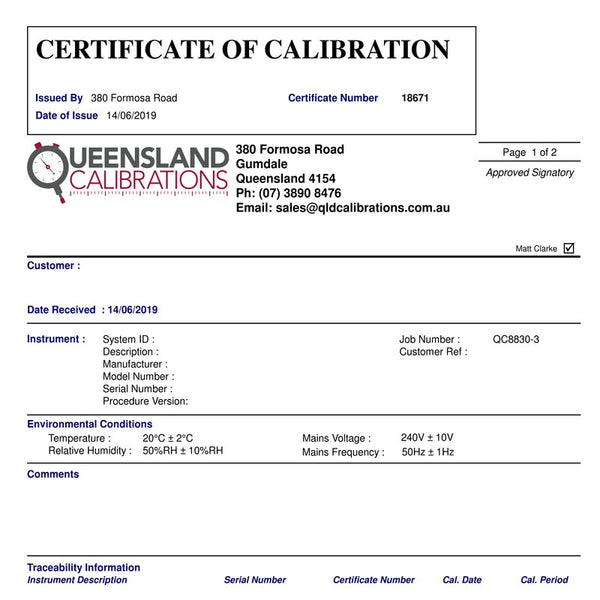 Fluke 374FC Calibration Service - QLD Calibrations