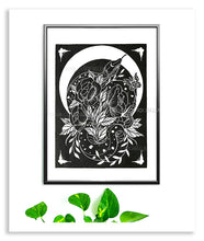 Load image into Gallery viewer, Snake and Roses Linocut Print - Curiobella