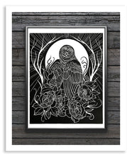 Load image into Gallery viewer, Owl Linocut Print