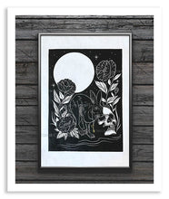 Load image into Gallery viewer, Rabbit and Key Linocut Print - Curiobella