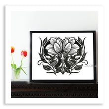 Load image into Gallery viewer, Skulls Linocut Print - Curiobella