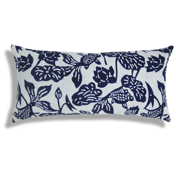 Fish Bowl Pillow in Indigo