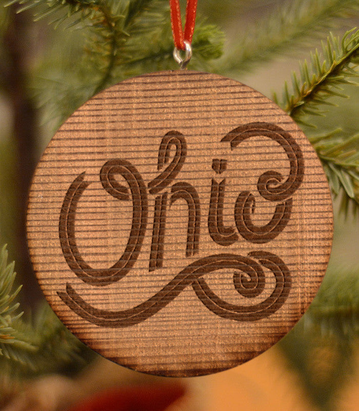Cursive Ohio Ornament