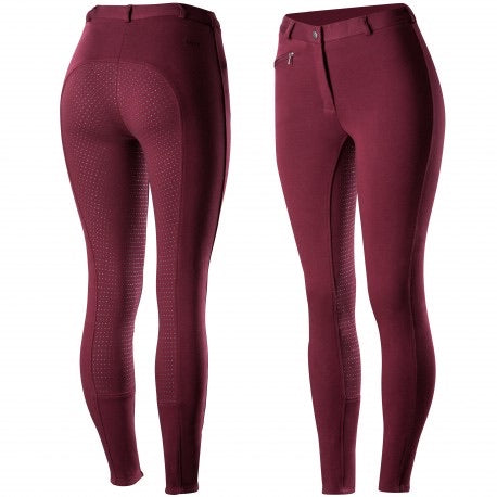 Horze Women's Active Full Seat Breeches - Port Royals Dark Red