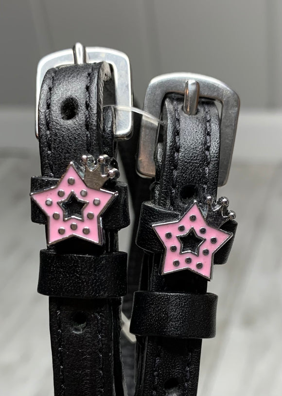 Pink Star & Crown Spur Straps