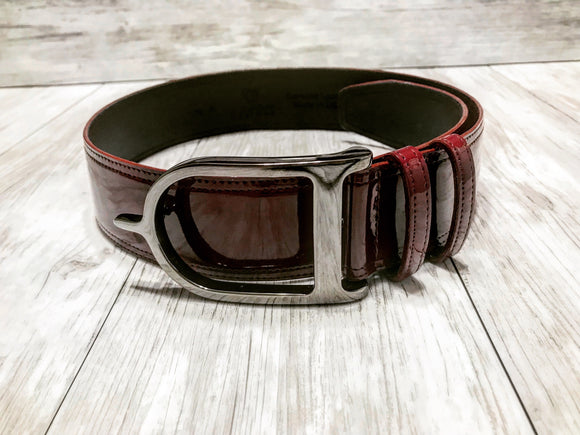 Burgundy Patent with Gunmetal Signature Spur Belt