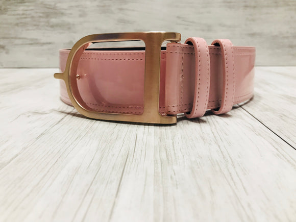 Pink Patent with Rose Gold Signature Spur Belt