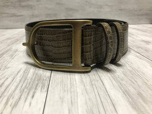 Olive Croc with Antique Gold Signature Spur Belt
