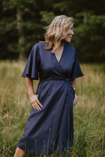 April Flounce Sleeve Wrap Dress - Grey Linen