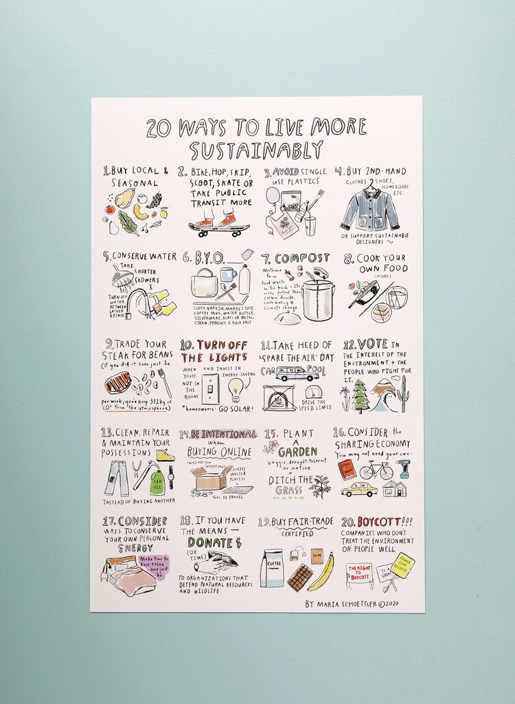 20 Ways to Live More Sustainably Posters