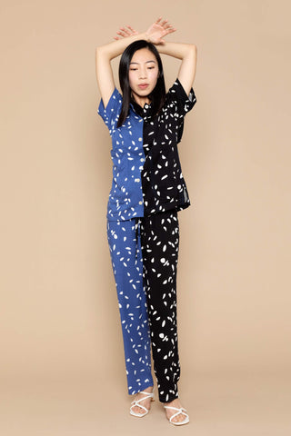 Therese Two-Tone Pants - Black/Blue Dots