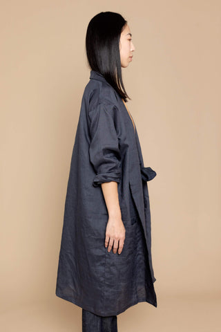 Noa Linen Duster Jacket - Grey