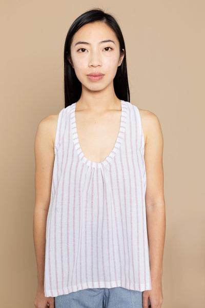 Dolores Gathered Sleeveless Top - White/Red Stripe
