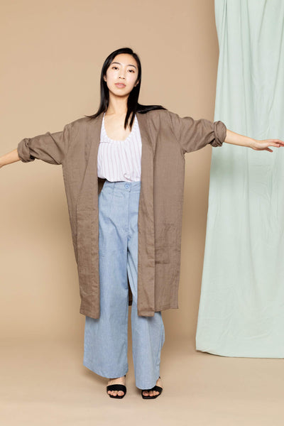 Noa Linen Duster Jacket - Brown