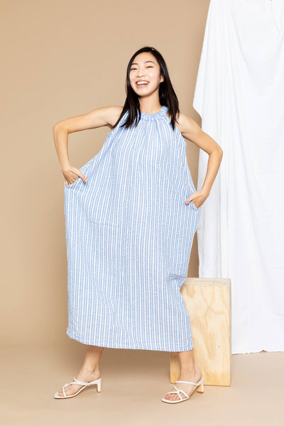 Chloe Maxi Dress - Blue Stripe