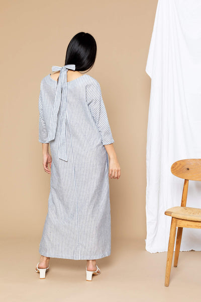 Nova Boatneck Midi Dress - Blue Grey Stripe