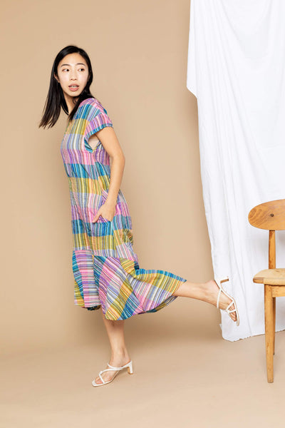 Stephanie Dress - Multi-Pink Woven Stripe