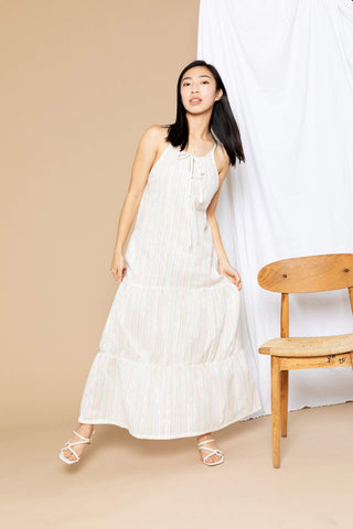 Paula Tiered Cover-Up Maxi Dress - White Stripe