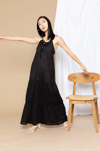 Paula Tiered Cover-Up Maxi Dress - Black
