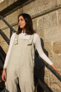 Nora Bib Overalls - Light Gray Wool