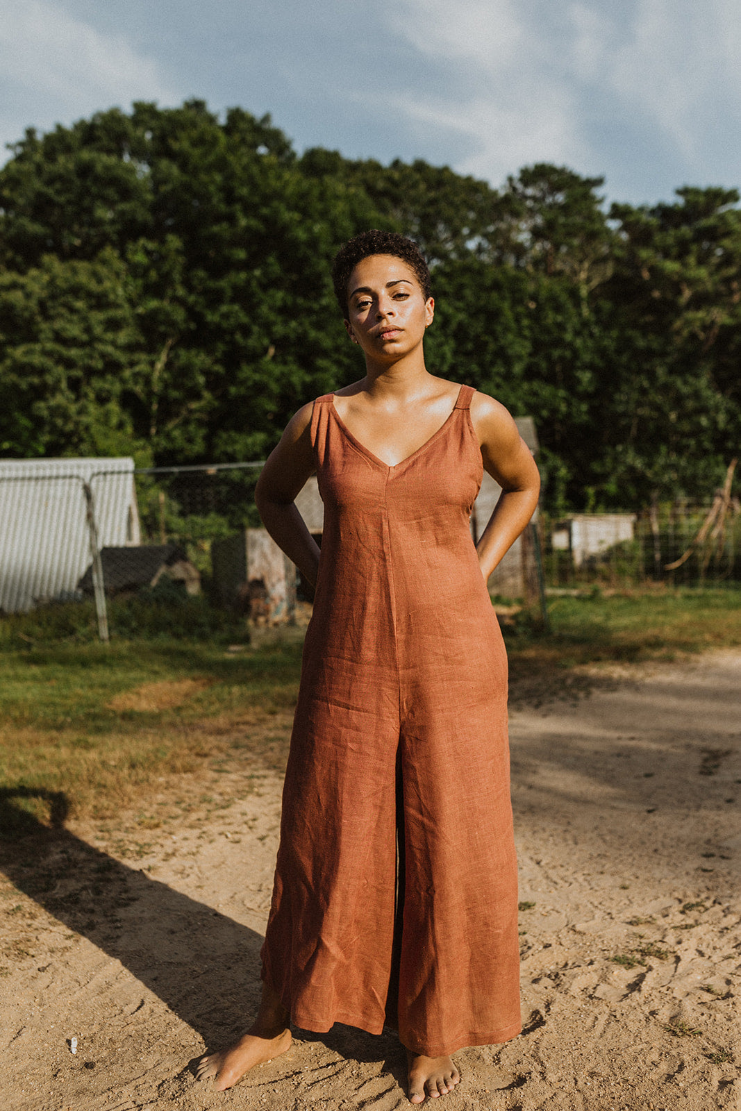 Cecille Wide-Legged Jumpsuit - Rust Linen