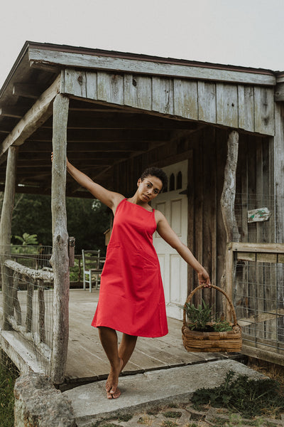 Aina Apron Skirtalls - Red Twill