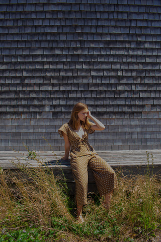 Johanna Jumpsuit - Brown Dots Cotton - S