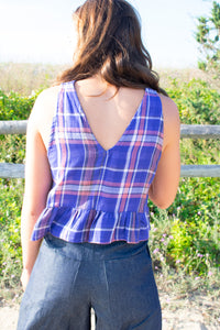 Agnes Ruffle Top - Purple Plaid