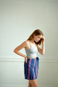 Jayden Wrap Skirt - Blue Stripe
