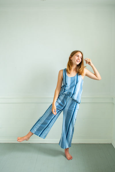 Jaclyn Beach Pants - Blue Stripe