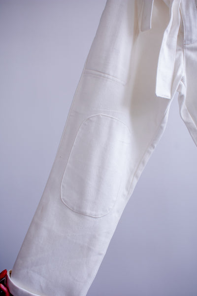 Wren Paperbag Pants - White Brushed Twill